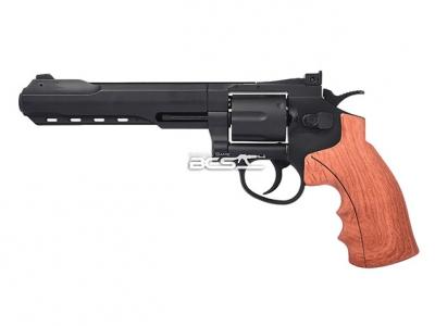 FS華山 1002 6吋 4.5mm 喇叭彈 CO2全金屬左輪手槍 仿木柄黑色