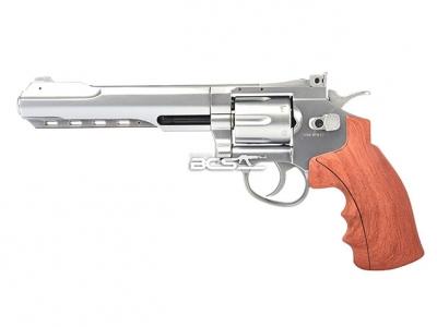 FS 1002 華山 6吋 4.5mm 喇叭彈 CO2全金屬左輪手槍 仿木柄銀色