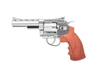 FS 華山 1002 4吋 4.5mm 喇叭彈 CO2全金屬左輪手槍 仿木柄銀色
