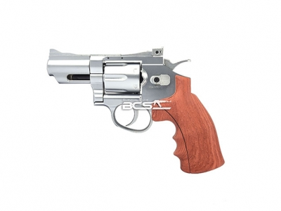 FS 華山 1002 2.5吋 4.5mm 喇叭彈 CO2 全金屬左輪手槍 仿木柄銀色